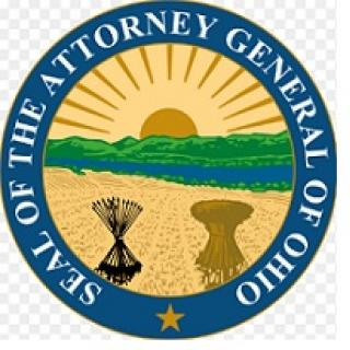 Round circle logo with thick blue outline  and words Seal of the Attorney General of Ohio and inside a sun, hill, river, corn bushel
