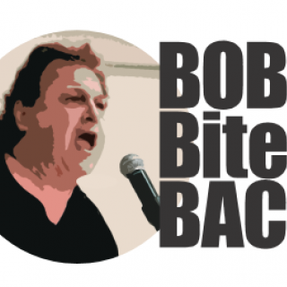 Head and shoulders image of man with black curly hair with his mouth open next to the words Bob Bites Back