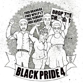 Black and white drawing of four black activists and signs that say Drop the Charges and BlackPride4