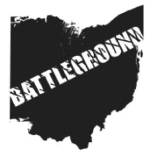 Map of Ohio with the word Battleground across it