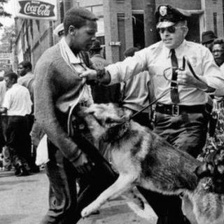 Black and white photo of young black man and white police officer grabbing his shirt in front and a German Shepherd police dog biting at the guy's stomach