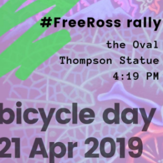 Purple background and words Bicycle Day 21 Apr 2019 and details of event