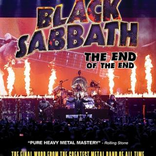 Movie poster with words Black Sabbath the end of the end and them playing in their band on stage in front of a crowd