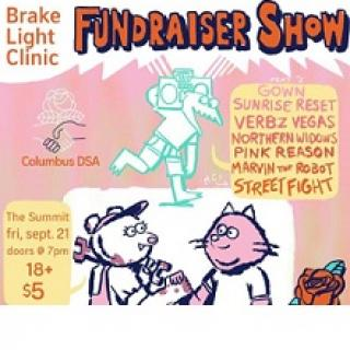 Words Brake light clinic fundraiser show and details about the event with pictures of animals