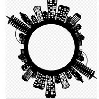 Drawings of buildings all around the perimeter of a circle