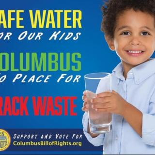 Young black child holding a glass of water and the words Safe Water