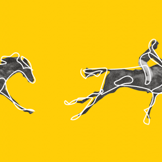 Yellow background with sketchy drawings of jockeys riding horses