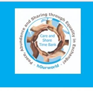 Different colored hands in a circle around the words Care and Share timebank with a blue background