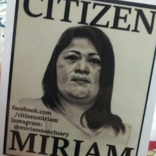 Miriam on a sticker saying Citizen Miriam