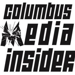 Large black words Columbus Media Insider with the M like shattered glass