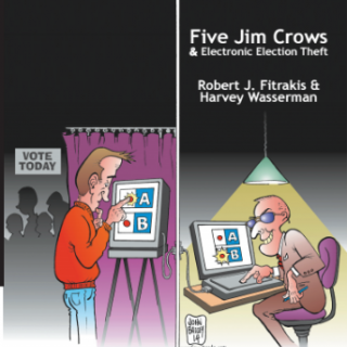 Cover of the book with picture of a guy voting on one side and a guy programming the voting machine to flip the vote on the other side