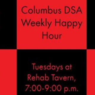 Red and black checkered background and words Columbus DSA Weekly Happy Hour and the details