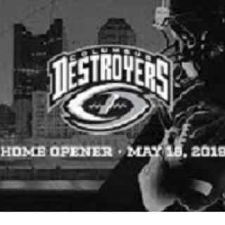 Word Destroyers in a logo with a artsy football below and an image of a football player to the right and Columbus downtown skyline to left