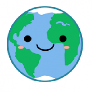 Drawing of Earth with a face smiling