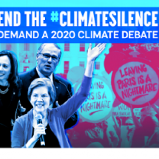 Three candidate and the words End the Climate silence