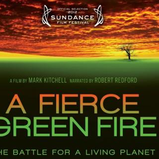The words A Fierce Green Fire over a green background that turns into fire in the sky