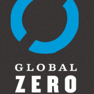 Logo with blue circle and words Global Zero