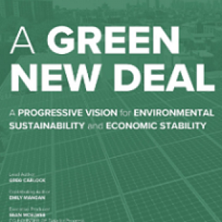 Bluish green background and words A Green New Deal with more details