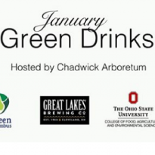 Words January Green Drinks hosted by Chadwick Arboretum and some logos