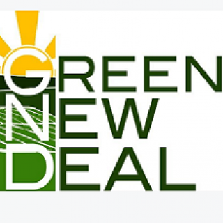 Words Green New Deal with a logo sun rays and solar panels