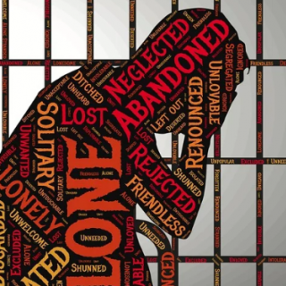 Person in jail iwith words Abandoned, neglected, alone, solitary, friendless, lonely etc.