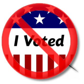 I voted with no sign over it