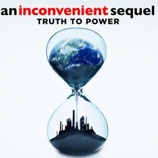 An hourglass with a skyline at the bottom and a mountain in the top with the words an Inconvenient sequel truth to power
