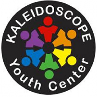 Round black circle with rainbow stick figures in a circle in the middle and words Kaleidoscope Youth Center