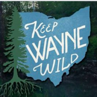 Blue silhouette of the state of Ohio with green tree to the left and words in white Keep Wayne Wild