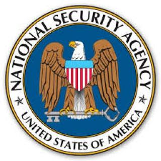 Round circle logo of national security agency with eagle in the middle