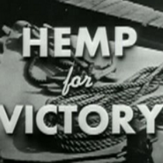 Black and white old time photo of rope on a ship and the words Hemp for VIctory