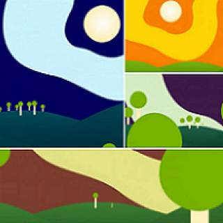 Brightly colored square of environmental scenes