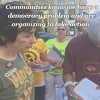 People signing petitions in background and words at top: Communities know we have a democracy problem and are organizing to take action.