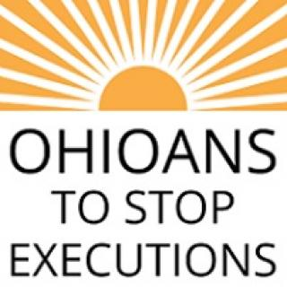 Logo of a half circle in orange like the sun with orange rays coming out all around the top and words Ohioans to Stop Executions