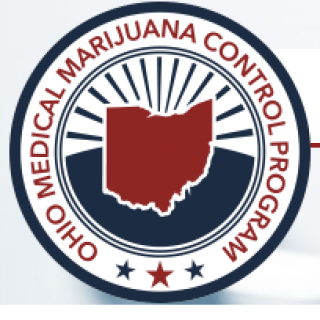 Round circle with words Ohio Medical Marijuana Control Program and a map of Ohio with lines spraying above it
