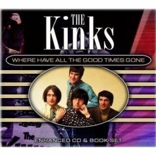 An album cover with words white on black at top The Kinks and Where Have all the good Times gone and then an oval below with yellow background with four young men with brown hair