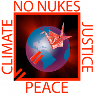 World logo saying No Nukes, Justice, Peace ad Climate