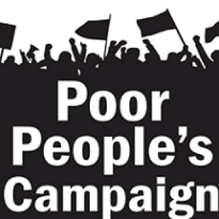 Words Poor People's Campaign and silhouette of people waving flags and fists in air