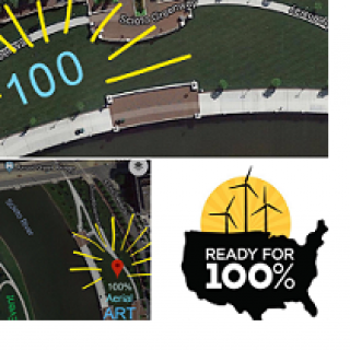 Three squares, one at bottom right with a black map of the U.S. and windmills at top with words Ready for 100% and two other squares one bottom right and one top with views of the river from above
