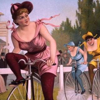 Old fashioned art of woman riding a bike with a huge front wheel and small back wheel