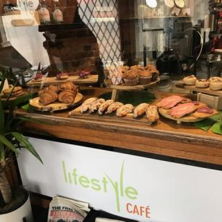 Restaurant counter with pastries displayed