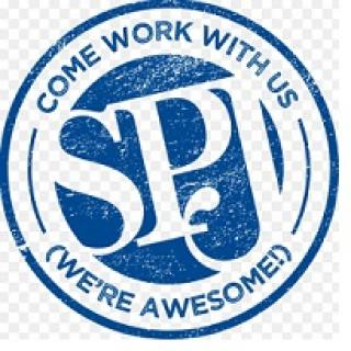 Letters SPJ sideways in a blue circle outline with words going around saying Come work with us (we're awesome!)