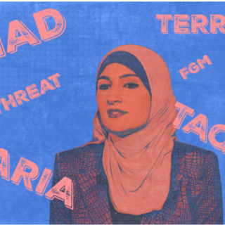 Red and blue picture of woman wearing head scarf against background with words terror, attack, etc.
