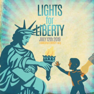 Drawing of a statue of liberty bending down to hand her torch to s small boy as a hand is grabbing the boy and pulling him away and the words Lights for Liberty