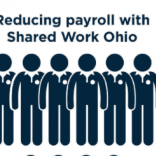Words: Reducing payroll with Shared Work Ohio and figures of people