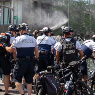 Cops spraying at a protest