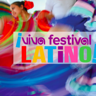Colorful background with words Viva Festival Latino!