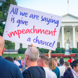 Sign saying All we are saying is give impeachment a chance