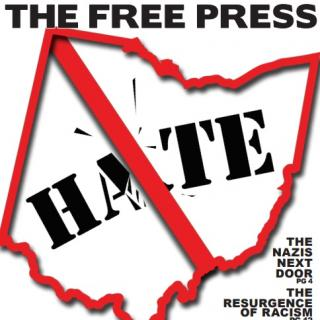 "Red border state of Ohio image with word hate inside and line through it like a ""no"" sign and the words Free Press on top"