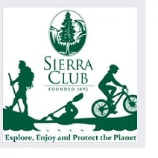 Green and white logo with a bi tree against mountains above the words Sierra Club and below people hiking, biking and kayaking